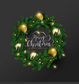 christmas new year 3d gold ornament wreath card vector image