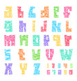 colorful font with cracks trendy alphabet bright vector image vector image