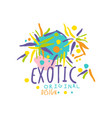 colorful hand drawn exotic logo for travel service vector image vector image