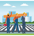 construction workers workers tools vector image vector image