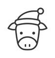 cow wearing santa hat outline icon editable stroke vector image vector image