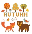 Cute autumn set with woodland creatures birds and vector image vector image