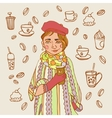 Cute little girl with coffee Coffee time A cup vector image