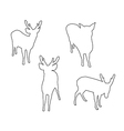 deer set path on white background vector image vector image