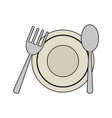 dish with cutlery vector image