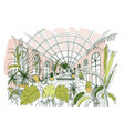 elegant drawing of interior of pavilion or vector image