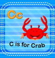 flashcard letter c is for crab vector image vector image