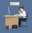 flat design businessman in office vector image