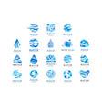 flat set original aqua logos abstract vector image vector image