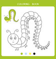 funny caterpillar for coloring book vector image vector image