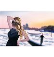 girl in venice beautiful sunset background vector image