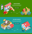grocery store isometric banners vector image