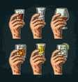 hand holding glass with tequila vodka rum vector image vector image