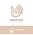 hand with heart logo design vector image vector image