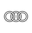 interlocking circles rings contour circles rings vector image vector image