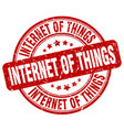 internet of things red grunge stamp vector image vector image