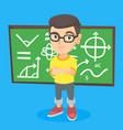 little schoolboy standing in front of blackboard vector image