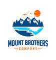 mountain landscape emblem logo design vector image vector image