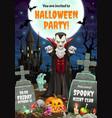night horrors vampire dracula halloween party vector image