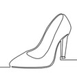 one line drawing of women high heel shoe vector image vector image