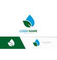 organic water logo combination unique eco aqua