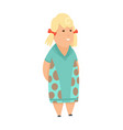 overweight blond little girl fat girl healthy vector image vector image