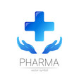 pharmacy symbol with blue cross vector image vector image