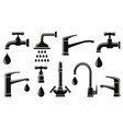 plumb set isolated modern tap icons vector image