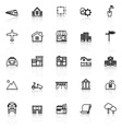 Real estate line icons with reflect on white vector image vector image