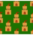 Red Brick Castle Seamless Pattern on Green vector image vector image