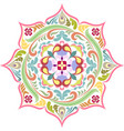 round floral tattoo colorful mandala lotus vector image