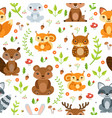 seamless pattern forest animals and vector image