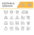 set editable stroke line icons trash vector image