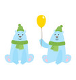 set of cartoon polar bears with hat an scarf vector image vector image