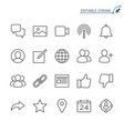 social network line icons editable stroke vector image