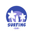 surfing club logo surf retro badge in blue color vector image vector image