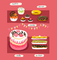 sweet food store set shop showcase cake muffin vector image
