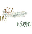term life insurance with no exam text background vector image vector image
