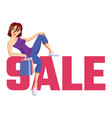 the inscription sale pink with cute girl vector image