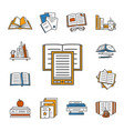 thin lined book icons set vector image