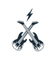 two crossed electric guitar vector image vector image