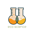 two test tubes with leaf eco science design vector image vector image