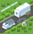 unmanned trucks isometric composition vector image vector image