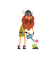 viking watering flowers with watering can comic vector image vector image