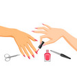 woman is doing manicure vector image