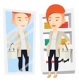 Woman trying on clothes in dressing room vector image vector image