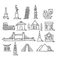 world landmarks signs set made from arrow vector image
