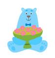 cartoon polar bear with cup flowers vector image