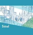 shopping street at myeongdong vector image