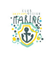 sea club logo design original template with anchor vector image